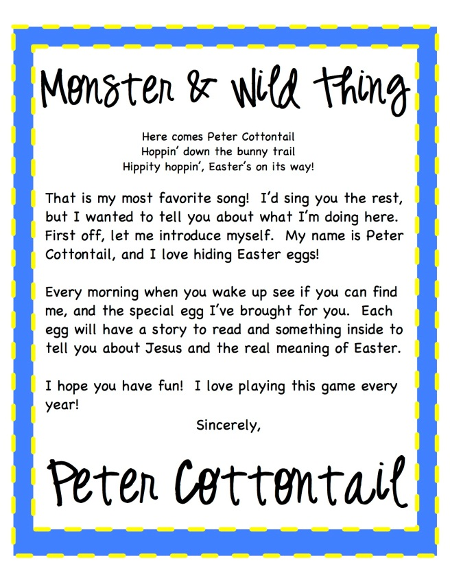 Peter Cottontail Letter 2